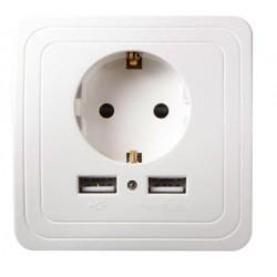 Tomada Eléctrica de parede com duas portas USB
