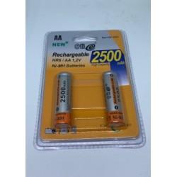 Conjunto de 2 pilhas AA 2500mAh 1.2V recarregáveis