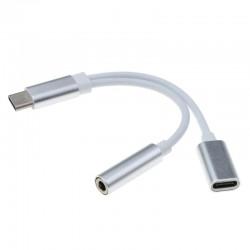 Adaptador usb tipo-C 2 in 1 (USB tipo C - Jack 3.5mm)