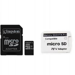 Kit de Adaptador SD2VITA PRO/ Adaptador de Cartão de Memória MicroSD Para PS Vita + Cartão de Memória Kingston de 16GB