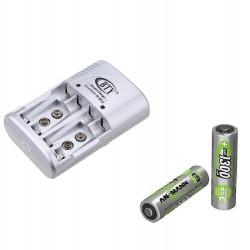 Pack Carregador e Conjunto de 4 pilhas Recarregáveis de 1300mAh