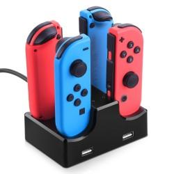 Carregador 4 em 1 para Comandos Nintendo Switch