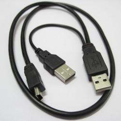 Cabo USB para disco Externo - 2 USB x 1 Mini USB