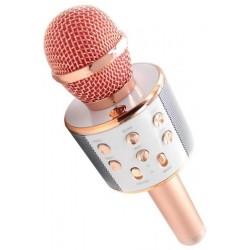 Microfone c/ Coluna Bluetooth Karaoke Wireless - Rosa Dourado