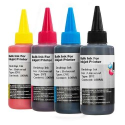 Kit de recarga de tintas para tinteiros de impressoras (Preto/magenta/amarelo/azul) 5 x 100ml
