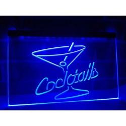 """Placar /Letreiro Luminoso """"Coktails"""" em azul"""