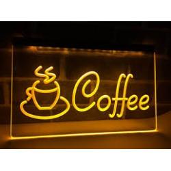 """Placar /Letreiro Luminoso """"Coffee"""" em amarelo"""