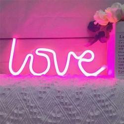"Letreiro/ Placar ""Love"" Led Neon Rosa (pilhas ou elétrico)"
