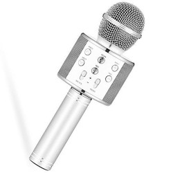 Microfone c/ Coluna Bluetooth Karaoke Wireless - Prateado