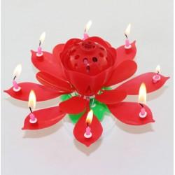 Vela Musical Formato Flor de Lótus - Vermelha - Giratória
