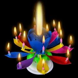 Vela Musical Formato Flor de Lótus - Multi-cores