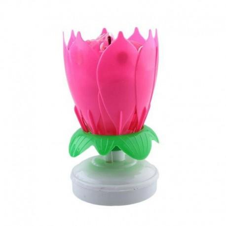 Vela Musical Formato Flor de Lótus - Cor de Rosa - Giratória