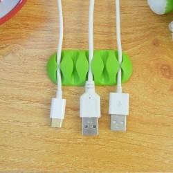 Organizador de cabos em silicone (para 5 cabos) verde