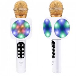 Microfone c/ Coluna Bluetooth Karaoke Wireless - Branco